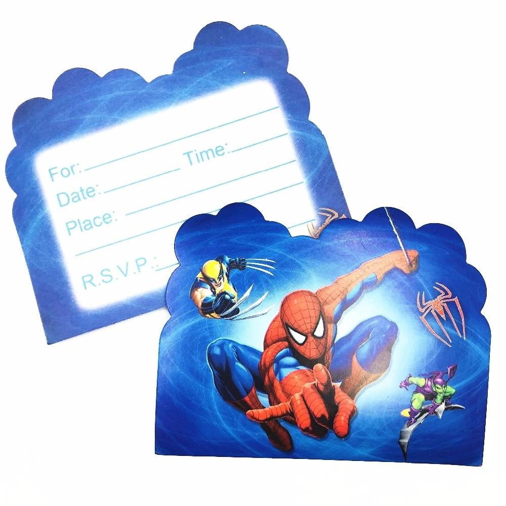 10pcs set spiderman theme invitation card birthday decor envelopes cartoon invitation card birthday party supply