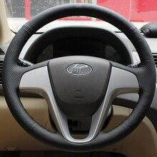 Cubierta Genuino Volante de Cuero del coche para Hyundai Verna I20 especial cosida a mano de Cuero Real Cubierta Envío Gratis