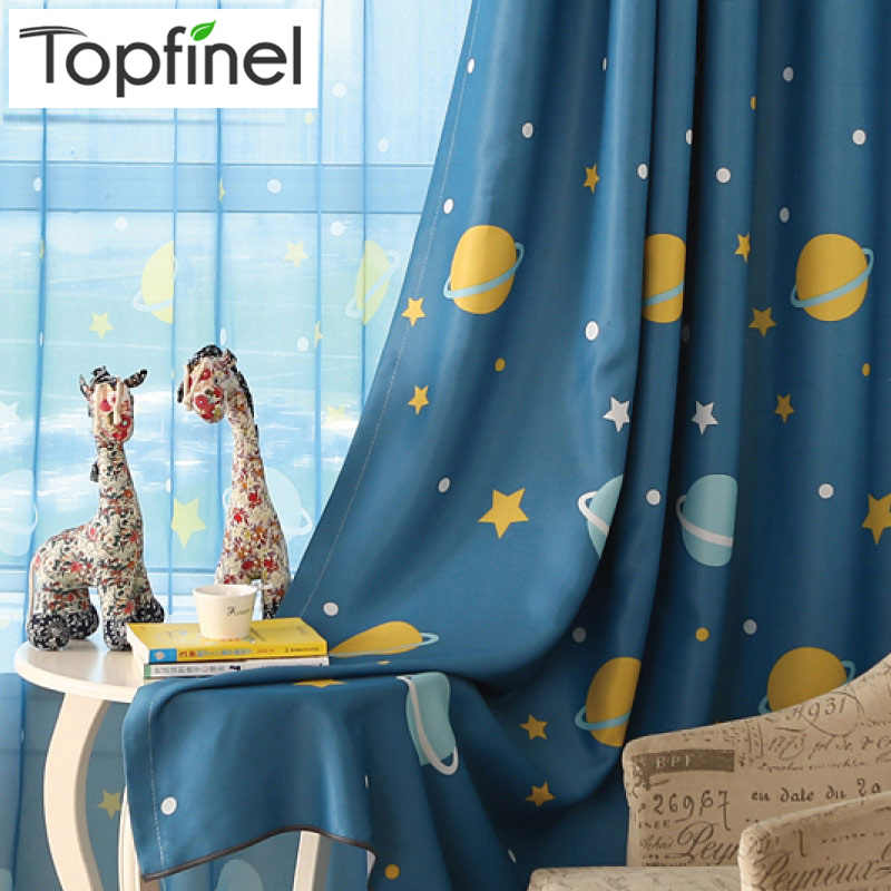 Topfinel Latest Style Planet & Star Pattern Curtains for Children Baby Kids Boys Room Blackout Curtains Drapes Window Treatments