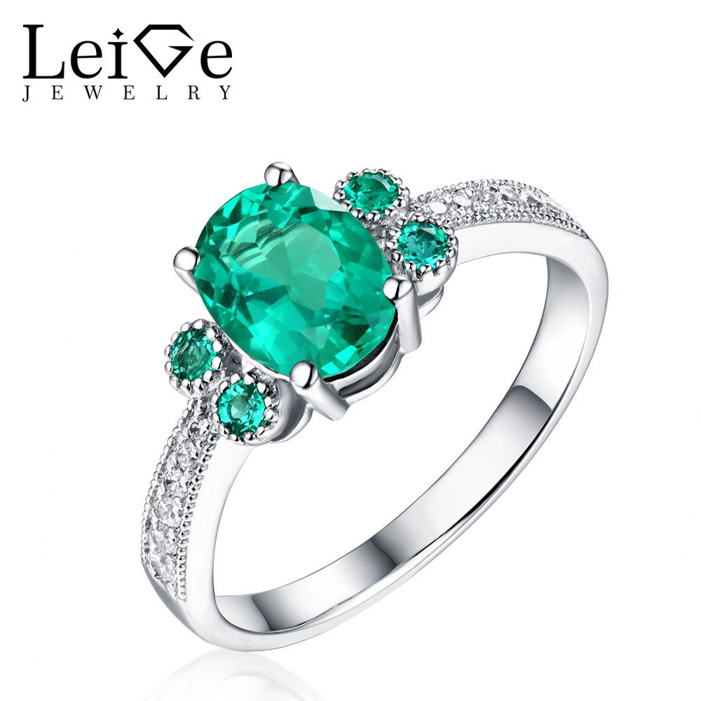 Leige Jewelry Emerald Rings for Women 925 Sterling Silver Oval Cut Wedding Promise Ring with Stones