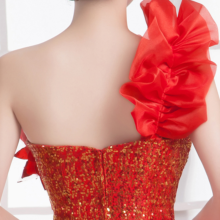 Image 4 - Quinceanera Dresses Princess Red/Green Flower One Shoulder  Sleeveless Ball Gown Lace up Floor Length Organza quinceanera  ruhaQuinceanera Dresses