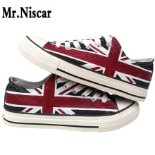 цена на Mr.Niscar Design Custom Hand Painted Shoes Casual UK Flag Low Top Men Unisex Black Union Jack Canvas Sneakers for Birthday Gifts