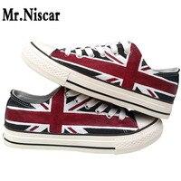 Mr. Niscar Tasarım Özel El Boyalı Ayakkabı Rahat İNGILTERE Bayrağı Düşük üst Erkekler için Unisex Siyah Union Jack Tuval Sneakers Doğum Günü hediyeler
