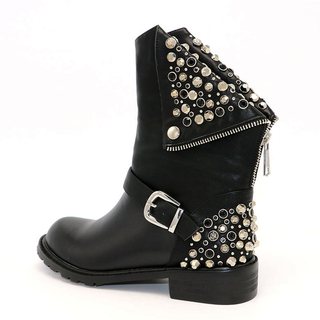 Coolcept Genuine Leather Boots Rivet Square Heels Autumn Winter Ankle Boots Sexy Martin Fur Snow Boots Shoes Woman Size 34-39