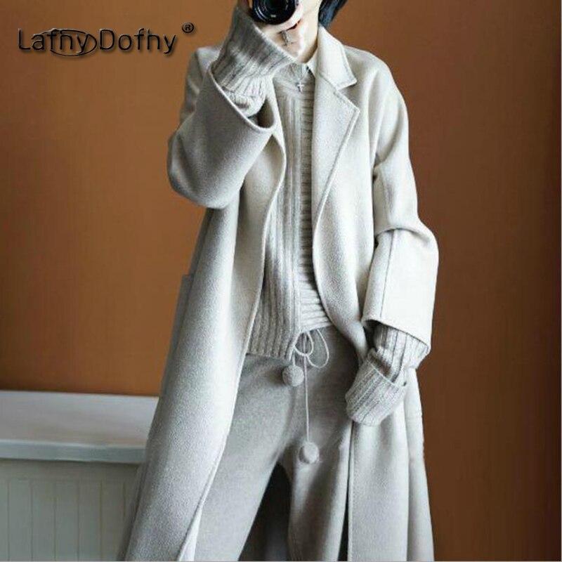 huge discount 1ef44 d4d1f Dofhy diseño mujeres baggy Correa larga tops invierno nuevo estilo doble  lana de Cachemira vestido abrigos alto señora bat manga larga caliente  outwear 004