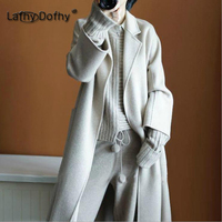 Dofhy design women baggy belt long tops winter new style double wool cashmere gown coats tall lady bat sleeved warm outwear 004