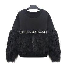 [TWOTWINSTYLE] 2016 Autumn Winter Women Hoodies Sweatshirt Thickened Fur Spliced With Rhinestone New Streetwear