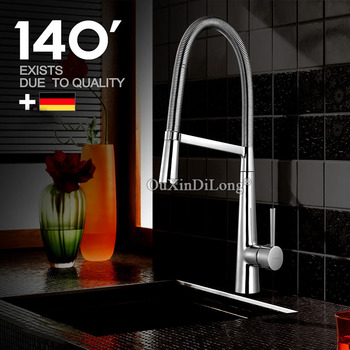 High Quality Copper Sink Mixer Chrome Finish Spring Kitchen Faucet Swivel Spout Hot Cold Water Control KF237