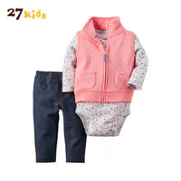 27Kids Baby Boy Girl Clothes Set Bebes Cotton Jacket Trousers Bodysuit 3piece Set Newborn Clothing Autumn