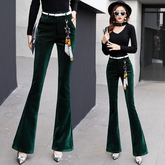 Осенняя женская обувь бархатные Брюки для девочек модные женские для похудения Высокая талия Англия Стиль Бизнес Повседневное черный Цвет длинные расклешенные Мотобрюки