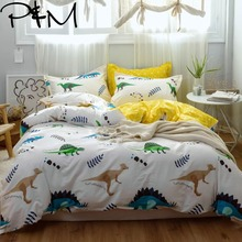 Papa&Mima Dinosaur print Cartoon style bedding sets Cotton bedlinens Twin full Queen size pillowcases duvet cover