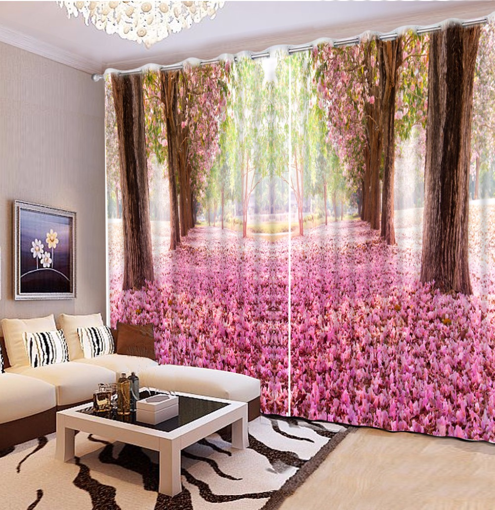 Customize 3d Curtains For Living Room Romantic Cherry Blossoms 3d Curtains  Stereoscopic Curtains For Bedroom(