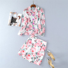 2018 Designer Runway Suit Set Women's 2 Piece Noble Floral Print Long Sleeve Tops+Skirt Sets See Through Chiffon Blouses Shirt