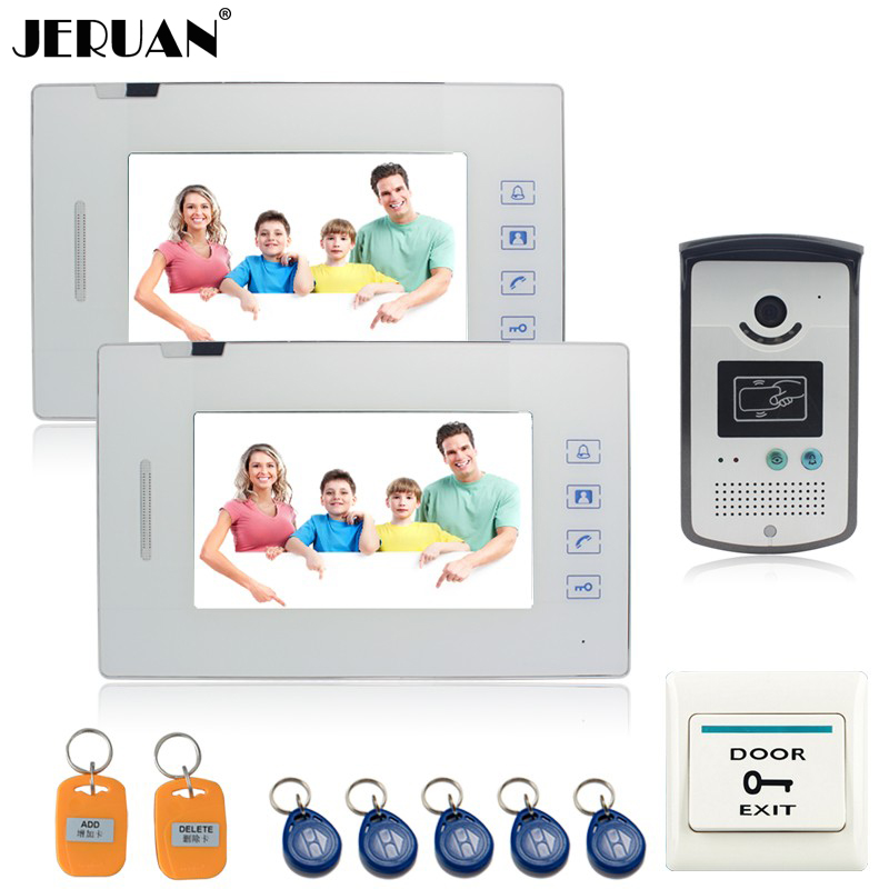 JERUAN New 7 inch  touch key video door phone intercom system access control system doorphone speaker intercom 2 call button wireless service call bell system popular in restaurant ce passed 433 92mhz full equipment watch pager 1 watch 7 call button