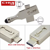 CHYI Tipo-C OTG USB 3.0 Flash Drive 16/32/64 GB Memory Stick Tipo C 3.1 Pen Driver Gadget Dupla Plug Para Tablet PC Smartphone