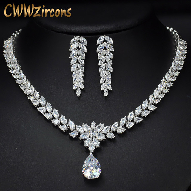 Cwwzircons Luxury Bridal Costume Jewelry Teardrop Zirconia Necklace And Earrings Set For Women Wedding Decoration