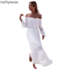 M.H.Artemis Sexy off shoulder lace embroidery summer dress 2016 white beach party dress flare sleeve vintage vestido