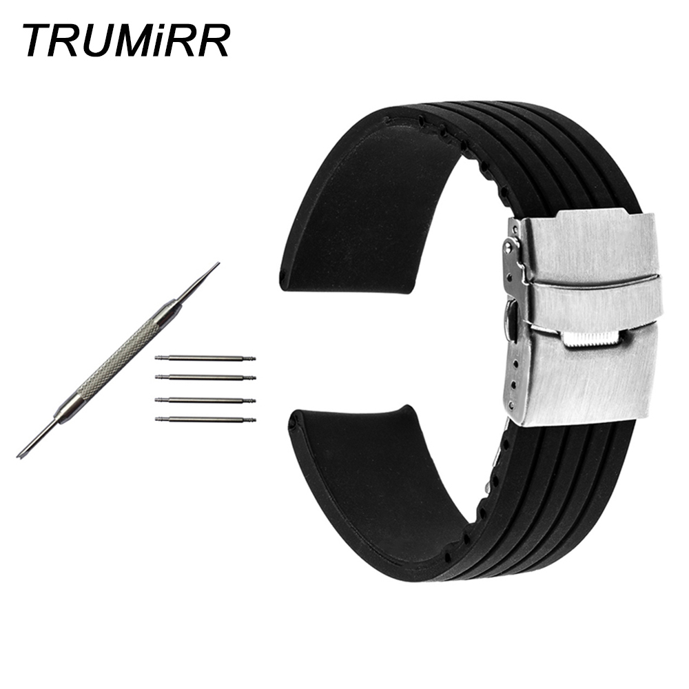 Silicone Rubber Watchband For Tissot T035 PRC 200 T055 T097 Watch Band Wrist Strap Black 17mm 18mm 19mm 20mm 21mm 22mm 23mm 24mm