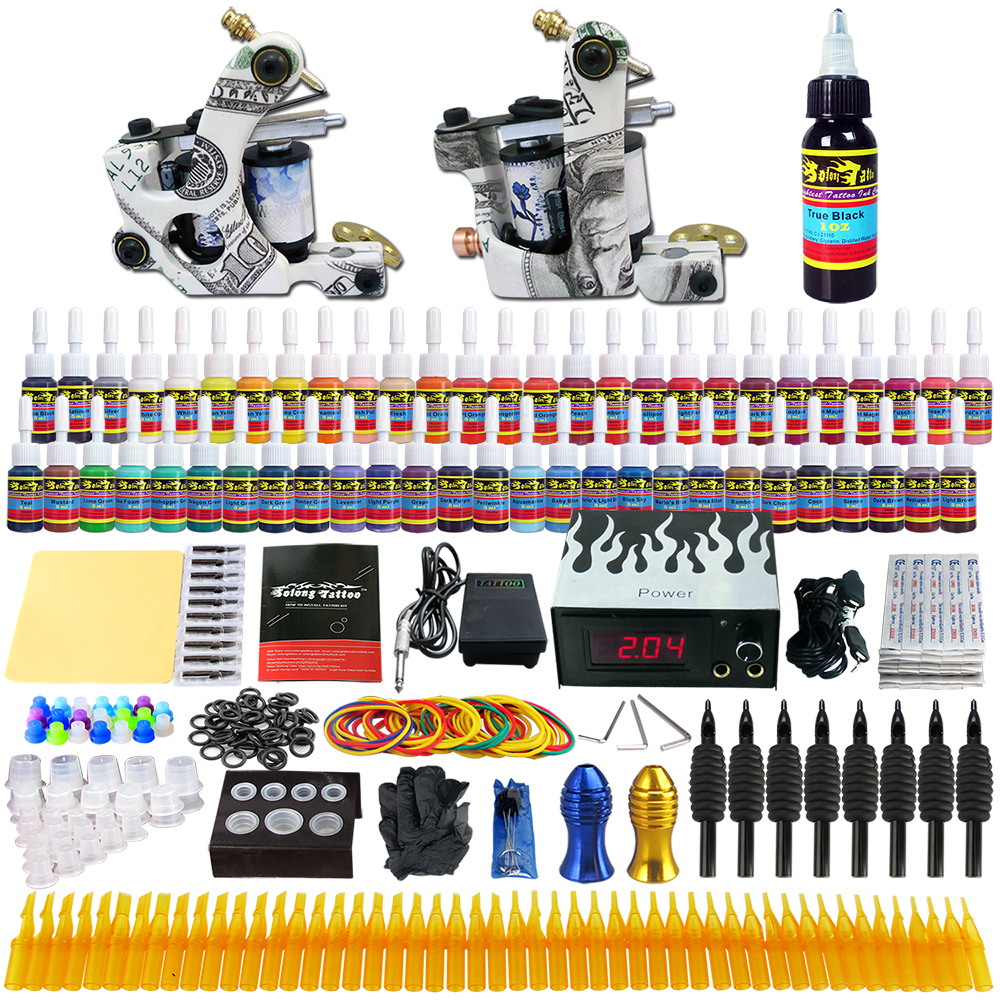 Stigma 2018 New Designed Complete Tattoo Machine Kits 2 Rotary Tattoo Guns Machine 54 Ink Sets