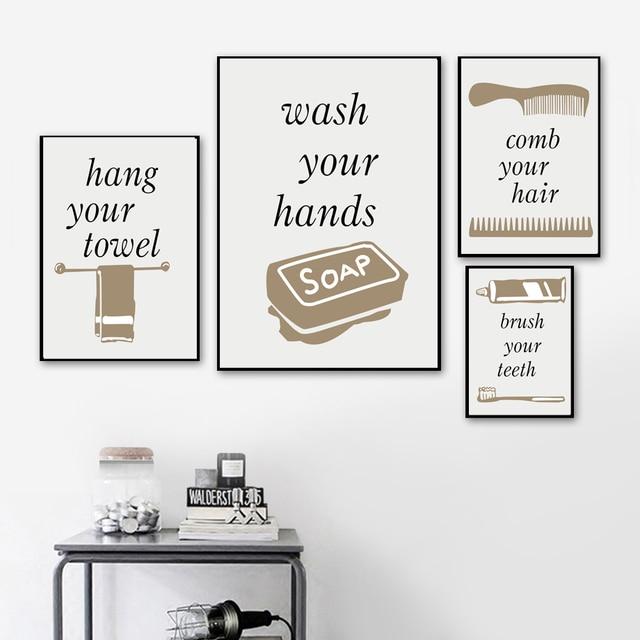 Towel Soap Comb Toothbrush Wall Art