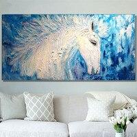 Duża Nowoczesne Malarstwo Home Decor Wall Art Handmade Biały Koń Płótnie Obrazy Nóż Obraz Ręcznie malowane Obraz Olejny Zwierząt