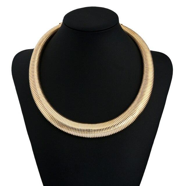 Flat Snake Pattern Statement Necklace