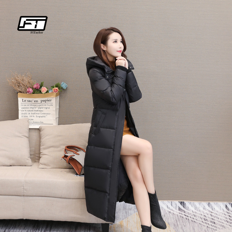 Fitaylor Winter 90% Duck   Down     Coat   Women Casual Max Long Jacket Plus Size 4XL Snow Warm Thickening Hooded Parkas Overcoat