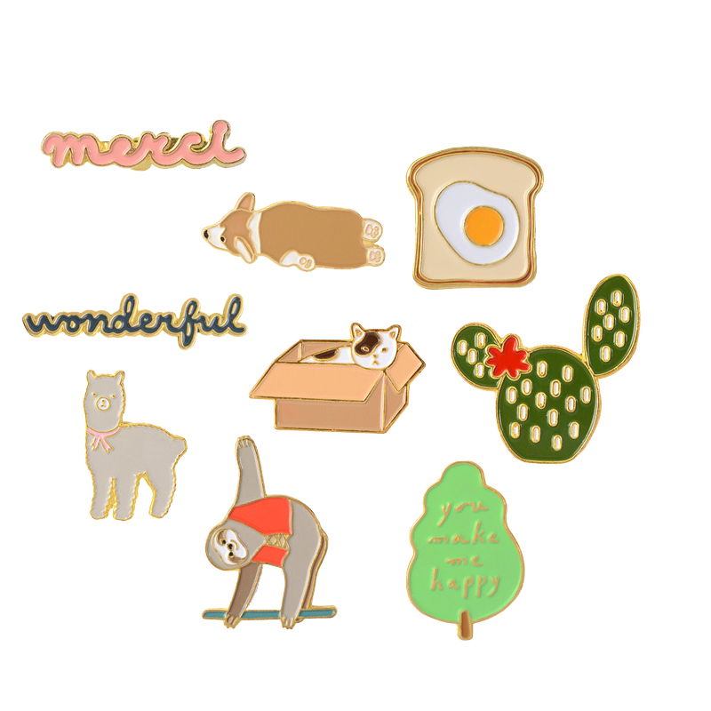 Cute pins Cactus Tree Toast Cat Dog Sloth Alpaca You Make Me Happy Enamel pins Badges Cartoon Jewelry for women girl image