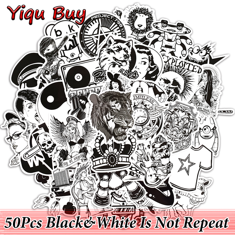 50 Pcs Black and White Cool Stickers for Laptop Car Skate Luggage Bicycle Motorcycle Toy JDM
