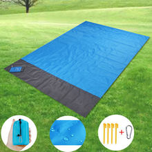 Sand Free Outdoor Pocket Picnic Blanket Waterproof Beach Mat Travel Camping Hiking Ground Mattress Mat Folding Cover 200x210cm(China)