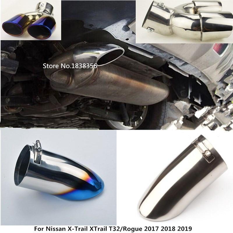Para Nissan X-Trail XTrail T32/Rogue 2017 2018 2019 tampa do carro silenciador extremidade do tubo exterior inoxidável dedicar aço tubo de escape ponta