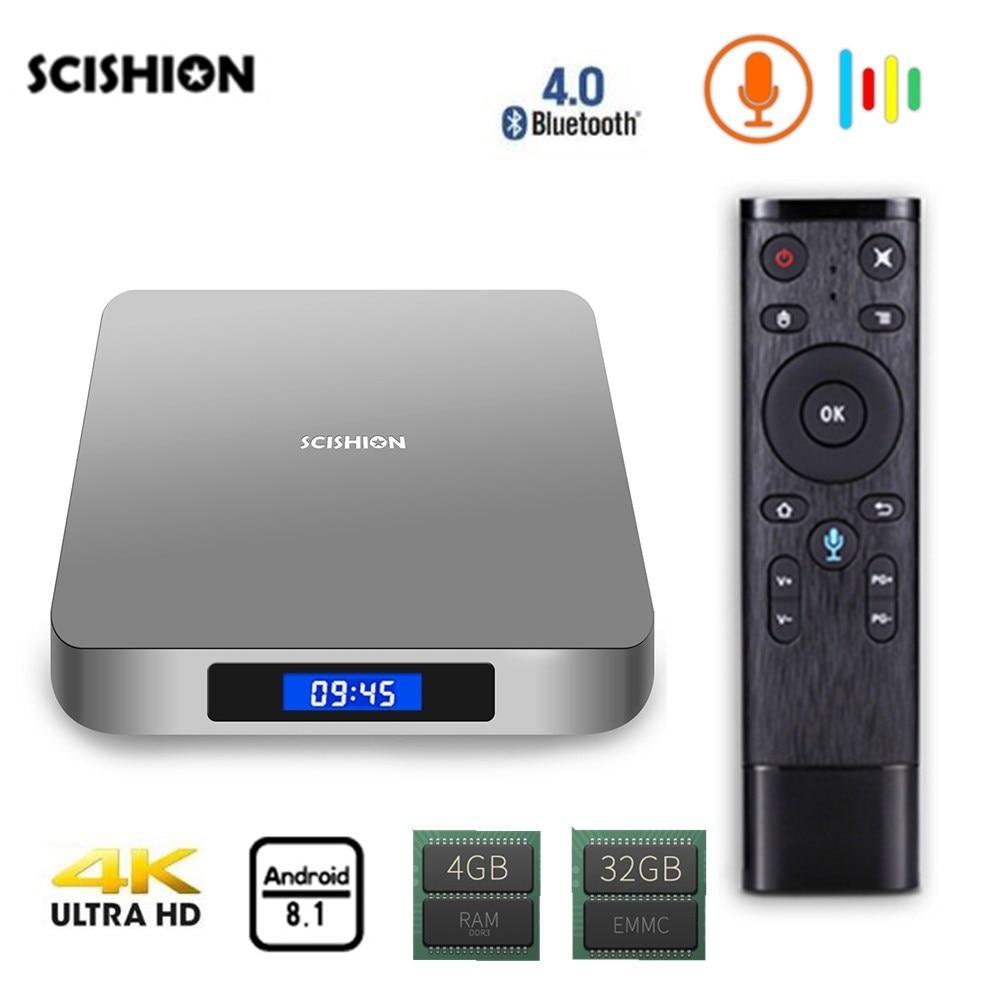 SCISHION AI ONE Android 8.1 TV Box Rockchip 3328 2GB RAM 16GB ROM 2.4G WiFi USB3.0 BT4.0 Voice Control Set Top Box Media Player цены онлайн