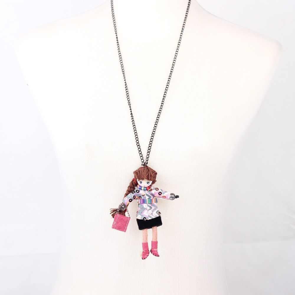 Bonsny французская кукла ручной работы подвеска длинная цепочка ожерелья с куклами брендовая ткань 2015 Новинка чокер для девочек женские аксессуары