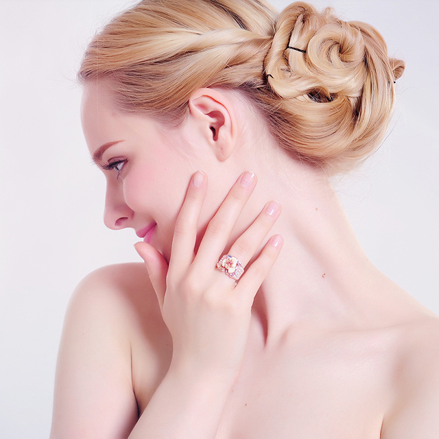 Rose Gold Plated Austrian Crystal Enamel Flower Ring