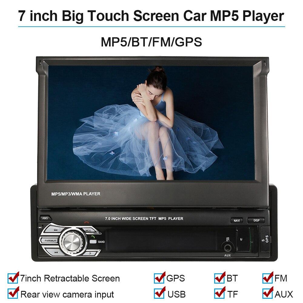 KKMOON 7 ''Voiture Stéréo audio Radio GPS Navigation Rétractable autoradio avec BT DVD MP5 SD FM USB Lecteur Arrière Vue caméra