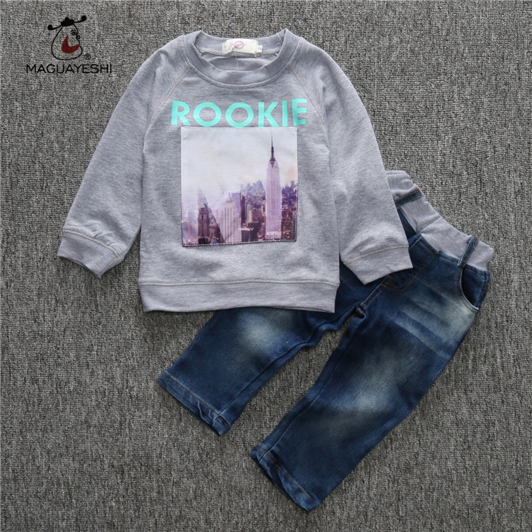 Autumn Children Clothing Sets Casual Baby Boy Suit Long Sleeve T-Shirt Jeans Girls Clothing Sets Boy Clothes Kids Sport Suits retail 2016 new girls clothing sets baby kids clothes children clothing full sleeve t shirt leopard legging birthday gift sets