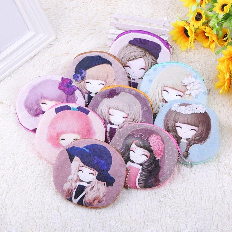 500pcs/lot Small Purse Girls Favorites Print Carton Pretty Women Zipper Minni Wallet Card Holder Coin Bag