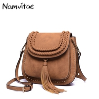 Namvitae Luxury Spring Fashion Women Saddle Handbag Famous Brand High Quality Suede Leather Rivet Lady Shoulder