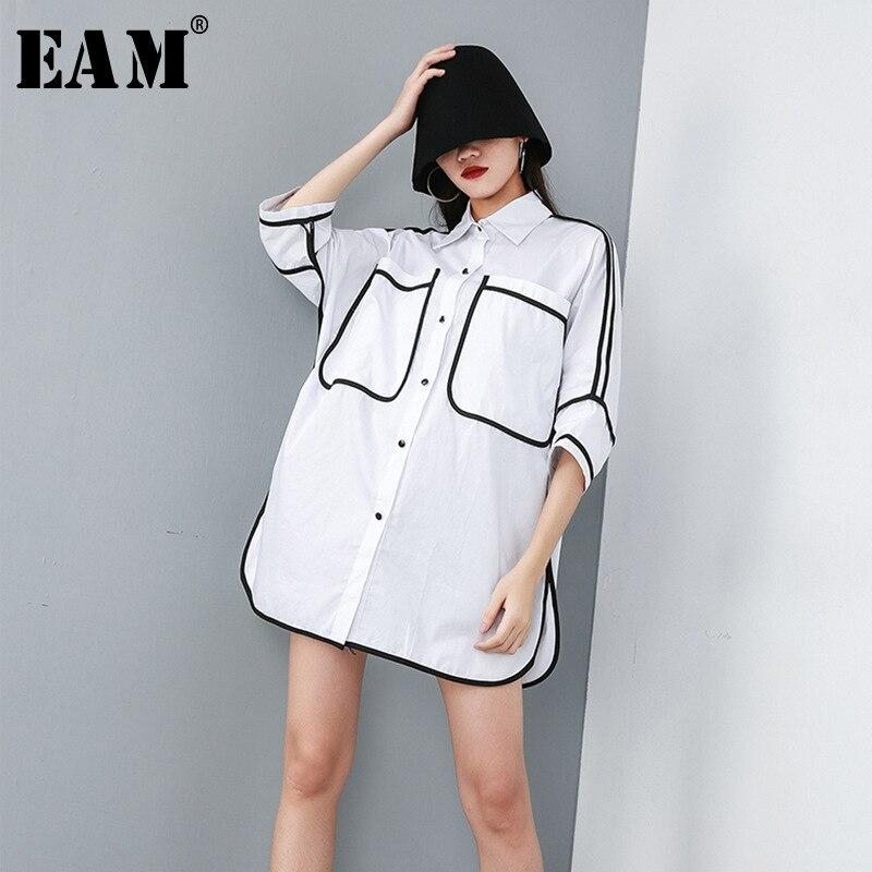 [EAM] 2021 Neue Frühling Sommer Revers Halbe Hülse Tasche Split Joint Lose Große Größe Overisze Shirt Frauen Bluse mode Flut JT609