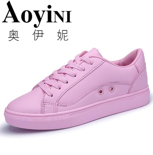 Hot 2016 Fashion Flats Women Trainers Breathable Sport Woman Shoes Casual Skate Walking Women Flats White Pink Zapatillas Mujer hot sale new fashion flats women trainers breathable sport woman shoes casual outdoor walking women flats zapatillas mujer 1608