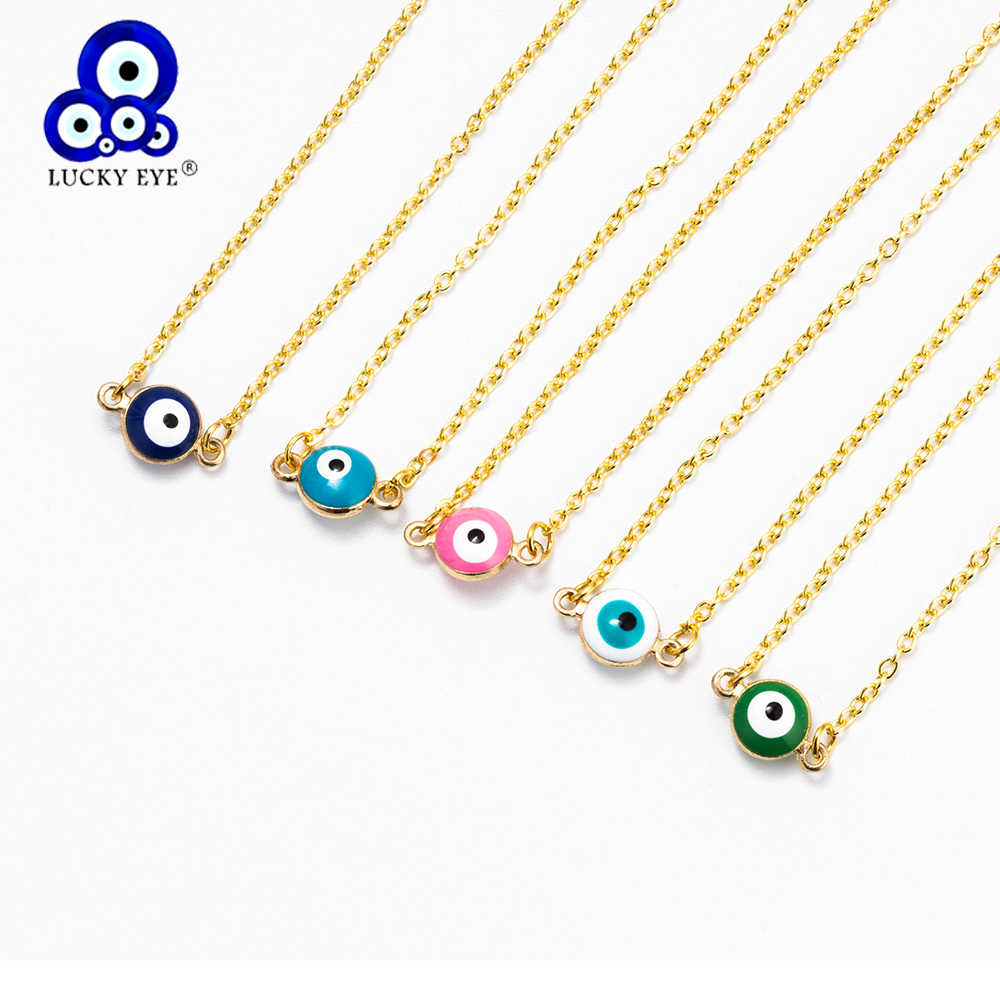Lucky Eye Evil Eye Pendant Necklace Mini Nazar Necklace Colorful Beaded Layered Necklace For Women Girl EY6087
