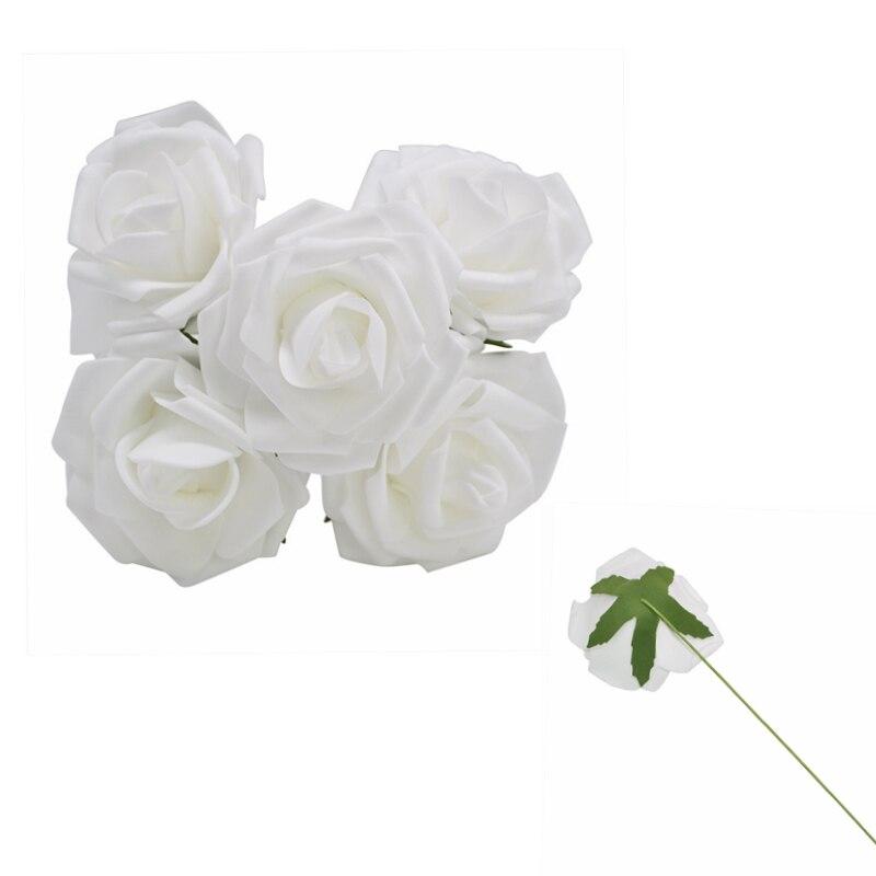 10 шт. 8 см большие ПЭ пенные цветы искусственные розы цветы Свадебные букеты Свадебные украшения для вечеринки DIY Скрапбукинг Ремесло поддельные цветы - Цвет: White