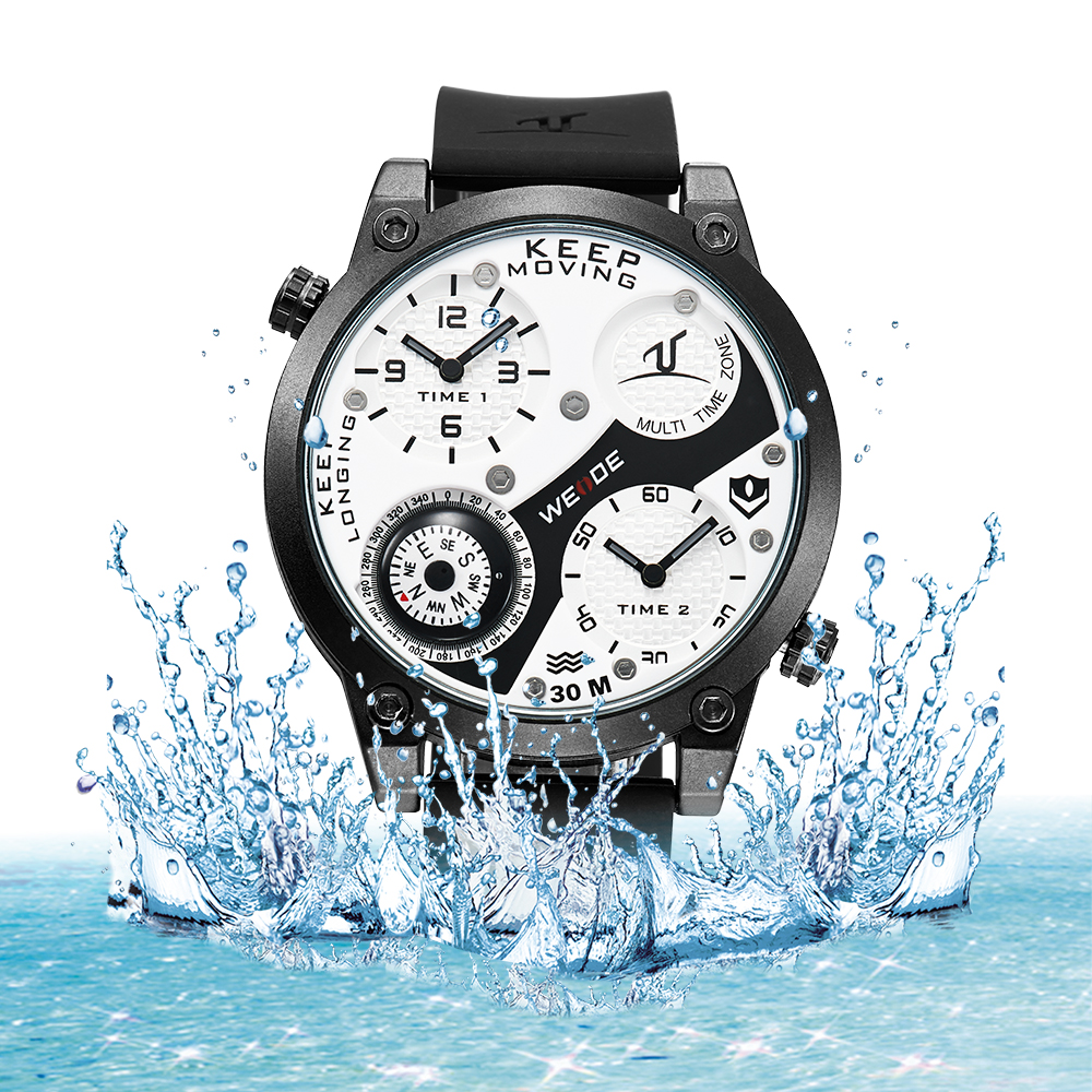 где купить WEIDE Watches Men Luxury  Multiple Time Zone Compass Sports Watch Men Quartz Wristwatch Clock  relogio masculino Water Resistant по лучшей цене