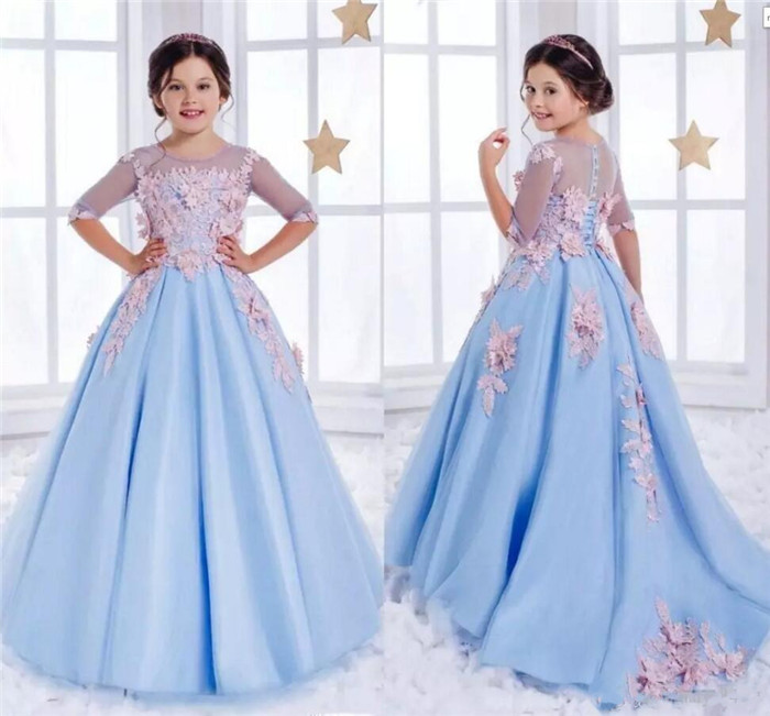 New Girls Pageant Dresses Sky Blue Lace Illusion With 3D Floral Half Sleeves Kids Flower Girls Dress Ball Gown Birthday Dress simple women s dolman sleeves floral embroidered dress