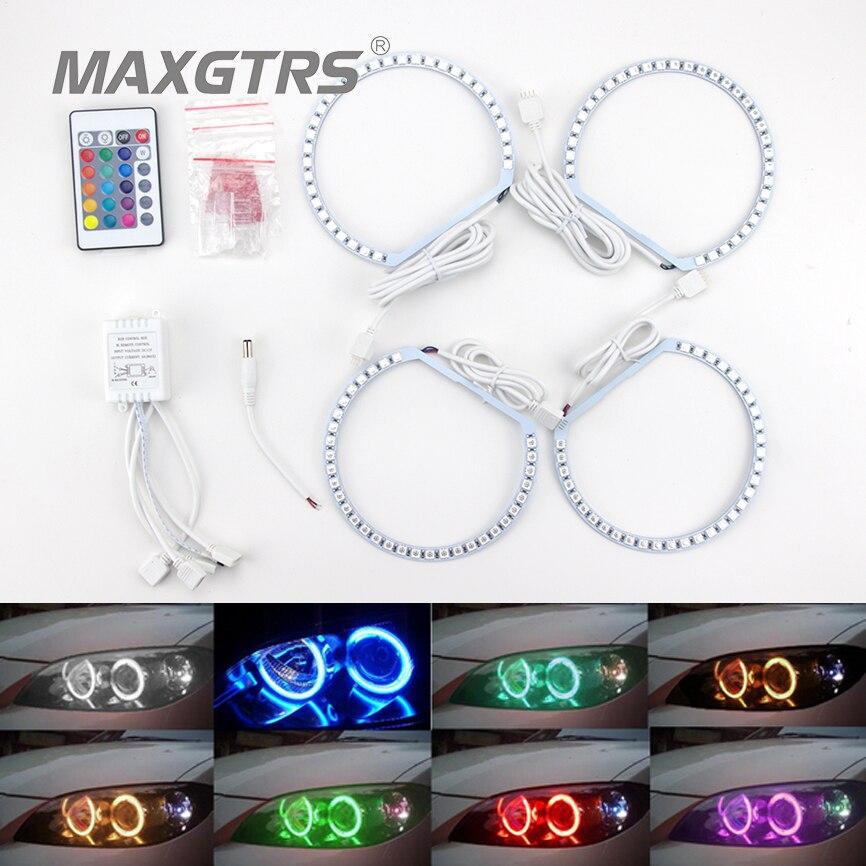4X131mm RGB Multi-Couleur 5050 132Smd Flash LED SMD Ange Yeux Kit Xenon Phare Pour BMW E36 E38 E39 E46 3 5 7 Série
