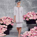 Gown with Jacket 2016 Vestidos De Novia Satin Sheath Mother of the Bride Dress Classic Crystal Beading Knee Length