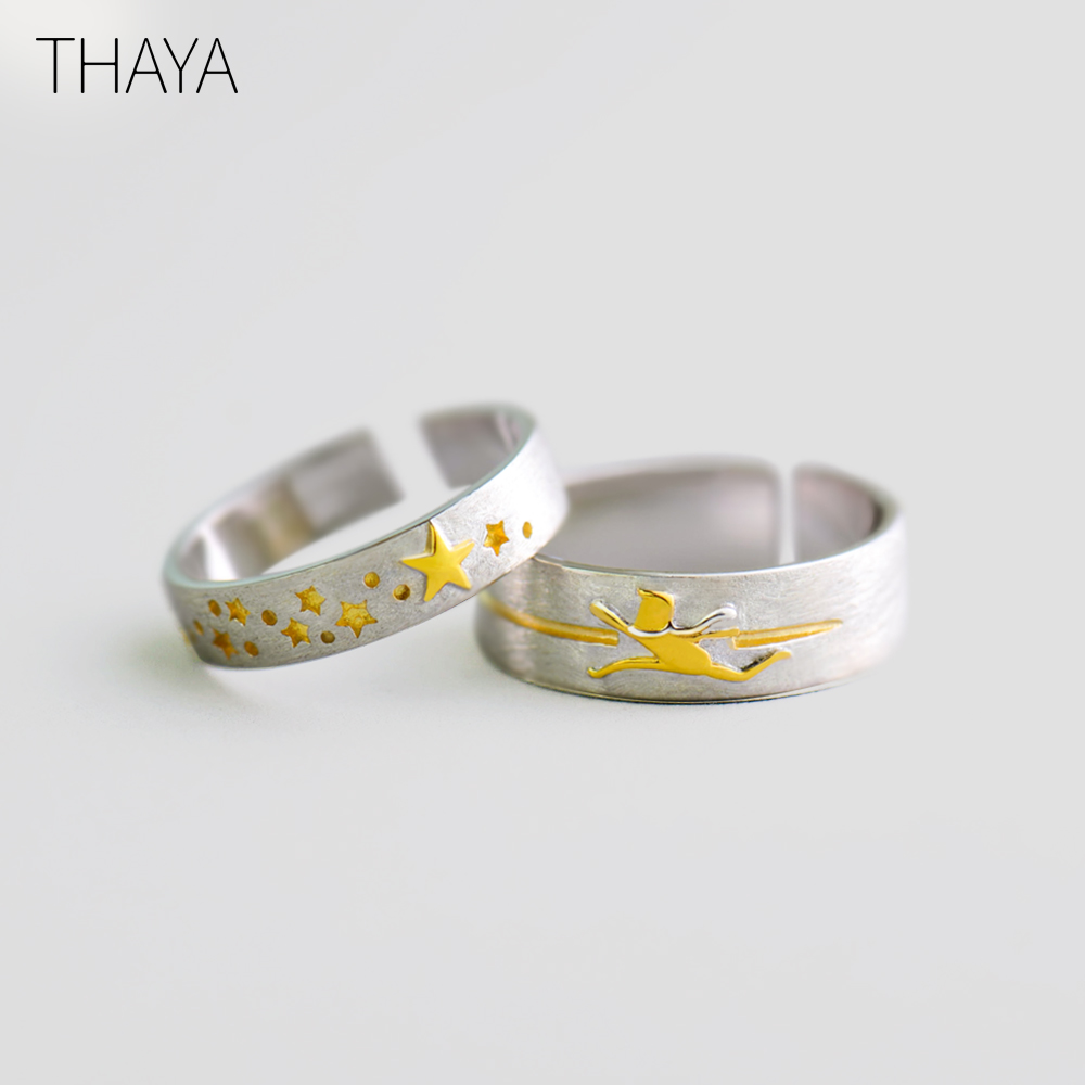 Thaya Golden Stars 3D Trail Chaser Ring 100% 925 Sterling Silver Female Gold Concave Ring elegant Jewelry for Women GiftThaya Golden Stars 3D Trail Chaser Ring 100% 925 Sterling Silver Female Gold Concave Ring elegant Jewelry for Women Gift