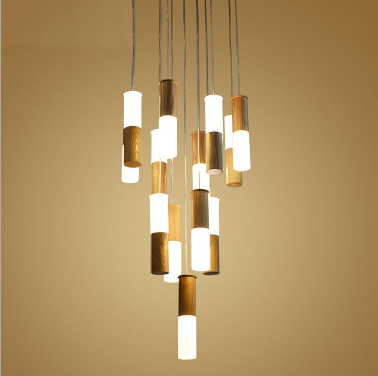 Modern minimalist creative wood flashlight chandelier cafe aisle living room bedroom restaurant hotel bar chandelier led fixture chinese style wood chandelier living room restaurant hotel aisle hotel retro lighting light e27 1 3 heads lamps za323440