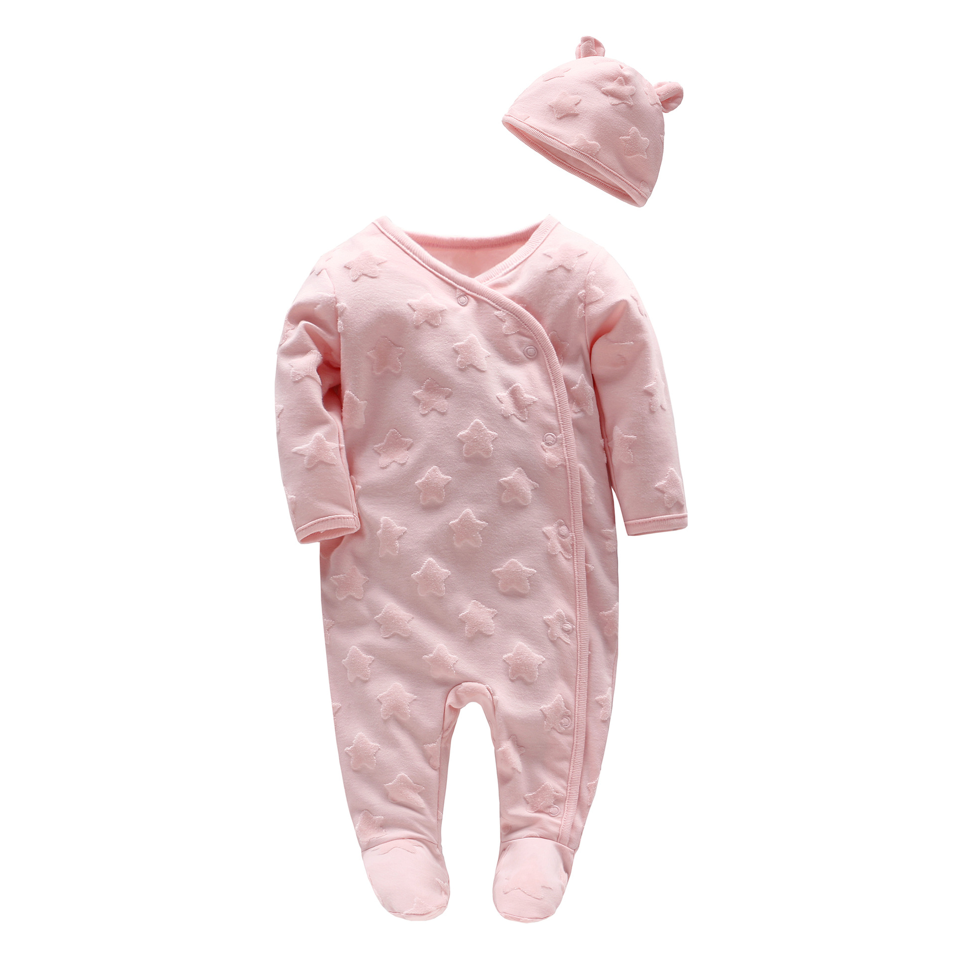 2018 Baby Girl Clothes Set Newborn Baby 2pcs Sets Star Soft Velvet Romper With Hat Babies Solid Pink Wedding Suits Newborn Gift promotion 6pcs baby bedding set cot crib bedding set baby bed baby cot sets include 4bumpers sheet pillow