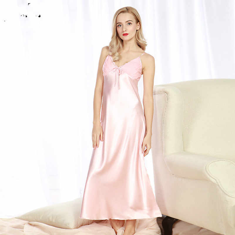 1ce90e8827ae ... Sexy Elegant Vintage Long Black Blue Silk Satin Nightgowns Women Night  Wear Slip Sleeping Dress Nightwear